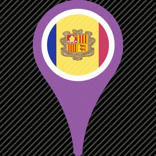 andorra, andorra flag pin, flag, map, pin icon