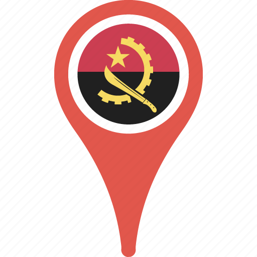 angola, country, flag, map, pin icon