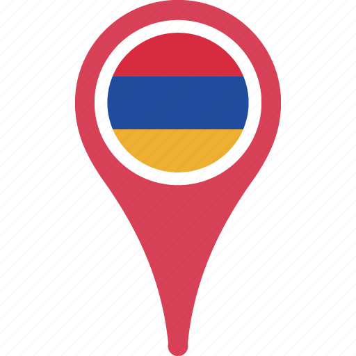 armenia, country, flag, location, map, pin icon