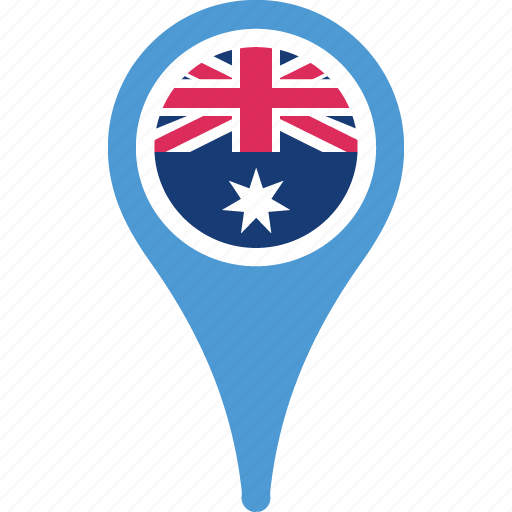 australia, flag, flags, map, marker, pin icon
