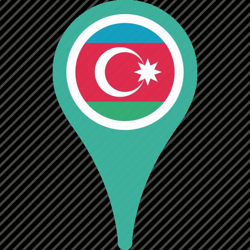 azerbaijan, azerbaijan flag pin, flag, map, pin icon