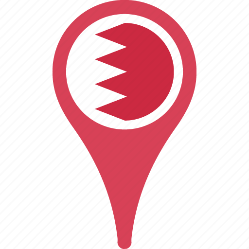 bahrain, country, flag, map, pin icon