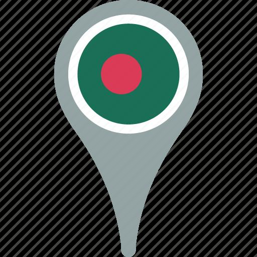 bangladesh, country, flag, map, pin icon