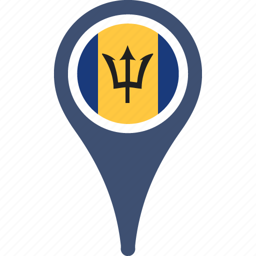 barbados, circle, country, flag, map, pin icon