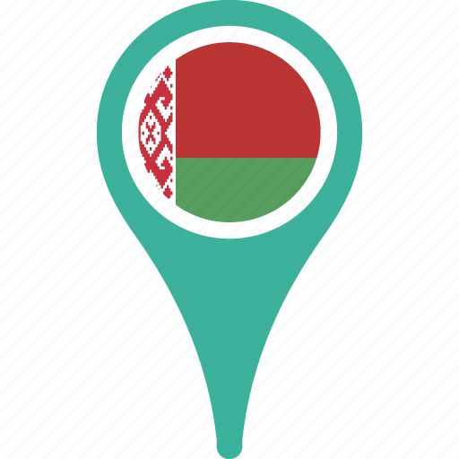 belarus, country, flag, map, pin icon