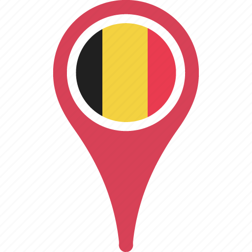 belgium, country, flag, map, pin icon