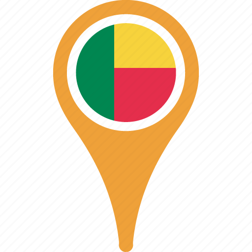 benin, country, flag, map, pin icon