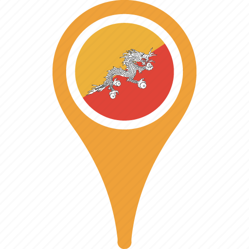 bhutan, country, flag, map, pin icon