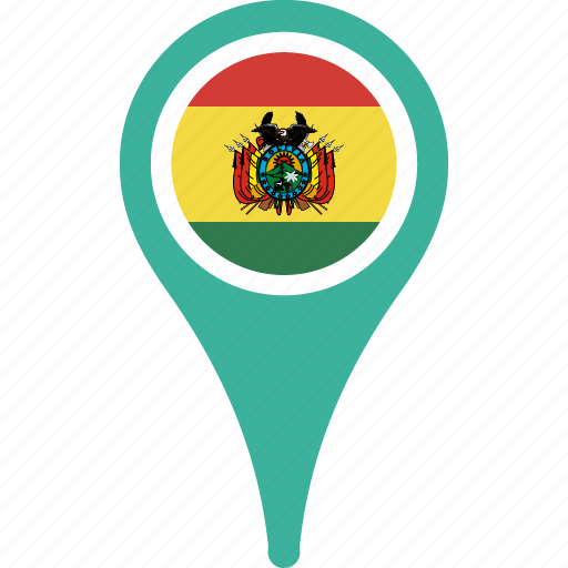 bolivia, country, flag, location, map, pin icon