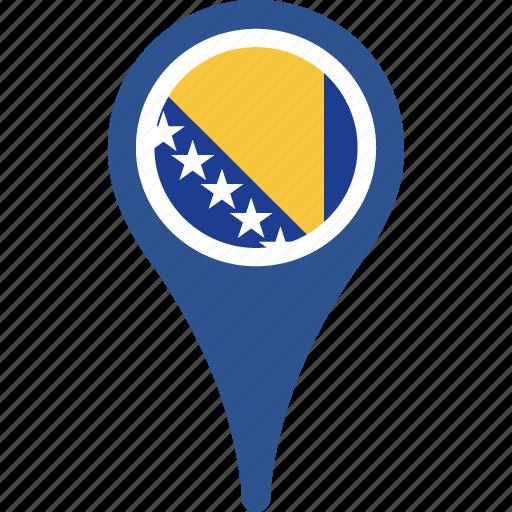 bosnia, country, flag, herzegovina, location, map icon
