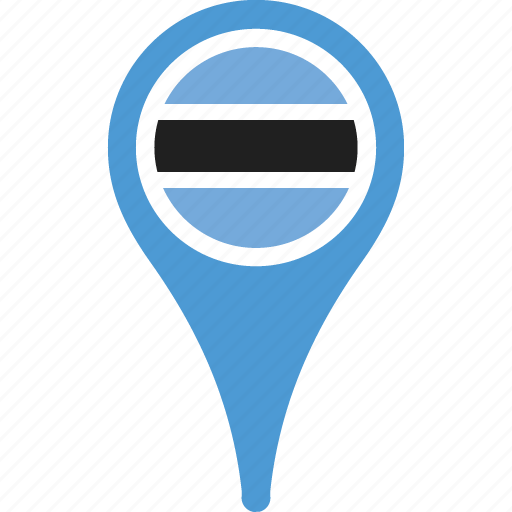 botswana, country, flag, map, pin icon
