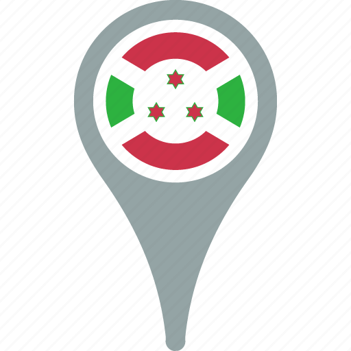 burundi, country, flag, map, pin icon