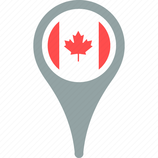 canada, country, flag, map, pin icon