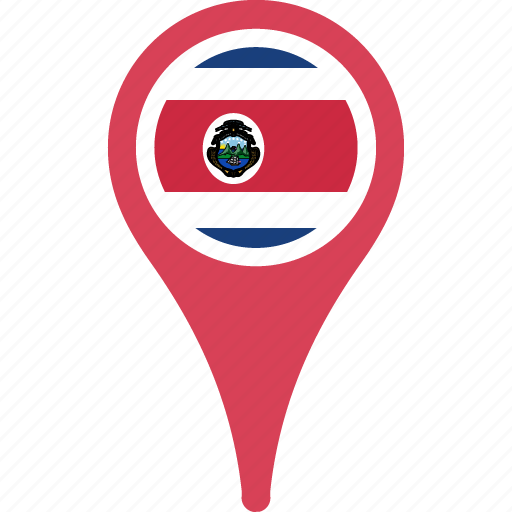 costa, country, flag, map, pin, rica icon