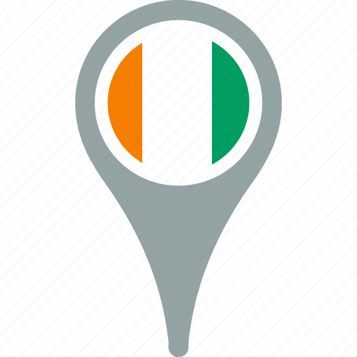 cote, country, divoire, flag, map, pin icon