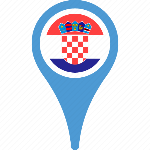 country, croatia, flag, flags, map, pin icon