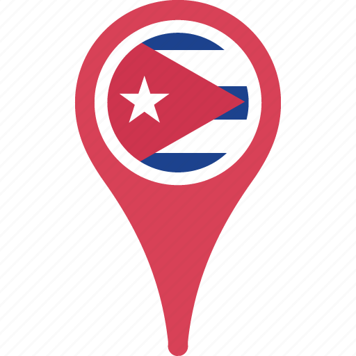 circle, country, cuba, flag, map, pin icon