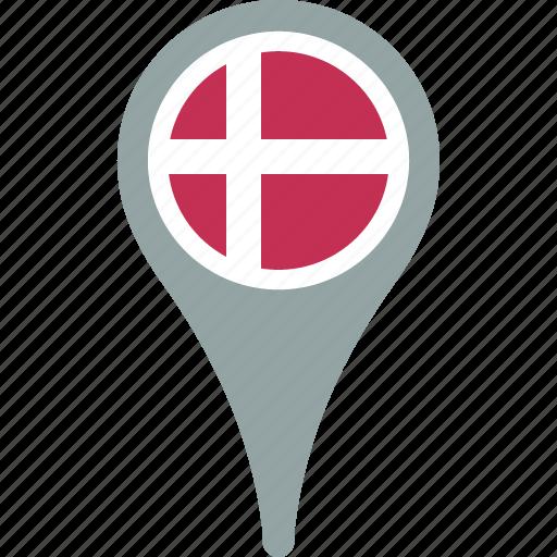 country, denmark, flag, map, pin icon