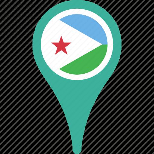 djibout flag pin, djibouti, flag, map, pin icon