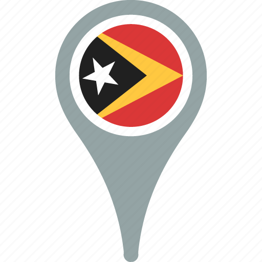 country, east, flag, map, pin, timor icon