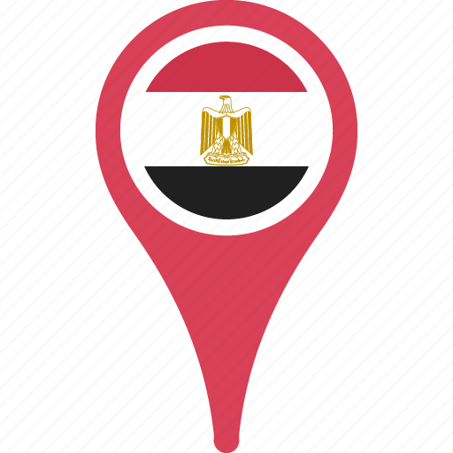 country, egypt, flag, location, map, pin icon