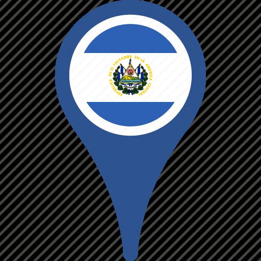 country, el, flag, map, pin, salvador icon
