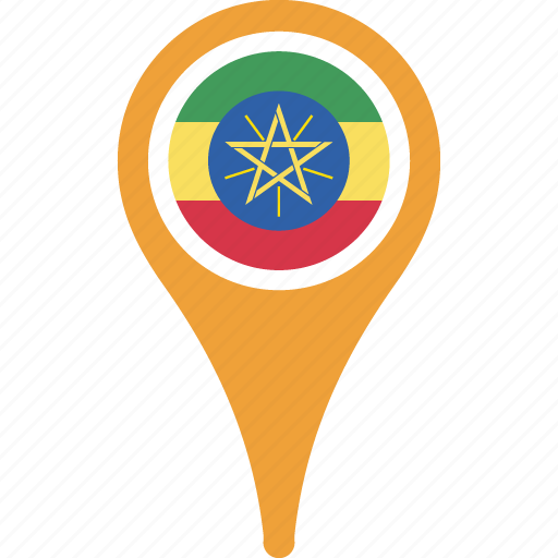 country, ethiopia, flag, location, map, pin icon