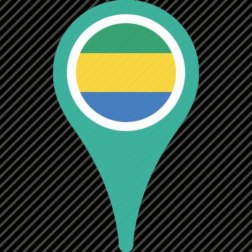 country, flag, gabon, location, pin icon