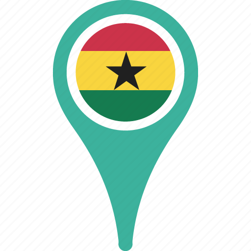 country, flag, ghana, map, pin icon