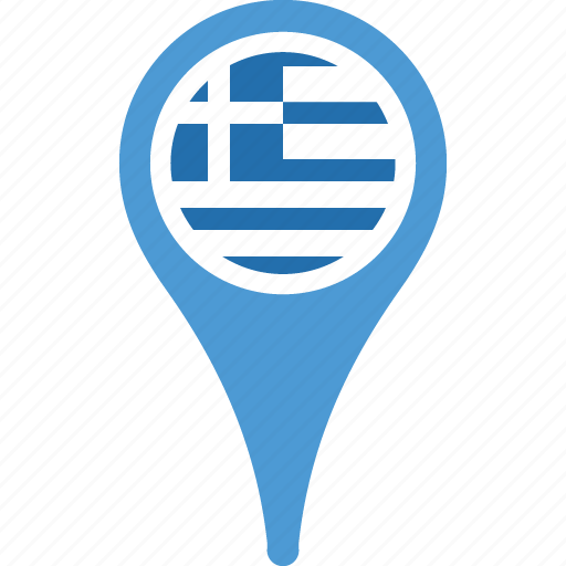 country, flag, greece, map, pin icon