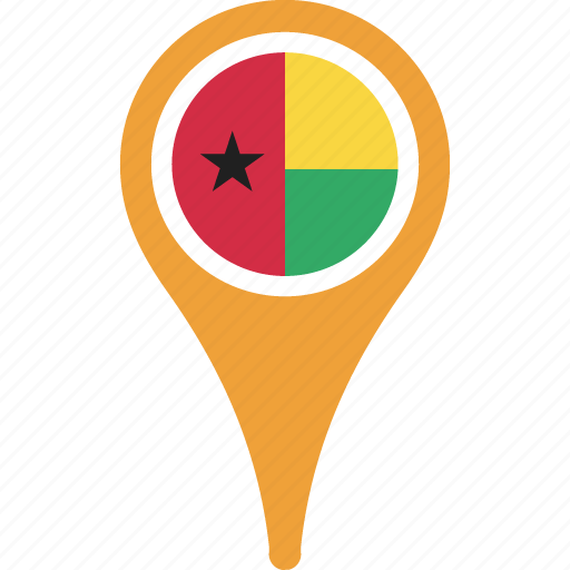 bissau, country, flag, guinea, map, pin icon