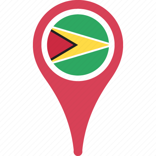 country, flag, guyana, location, map, pin icon