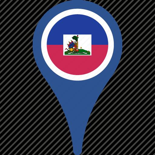 flag, haiti, haiti flag pin, map, pin icon