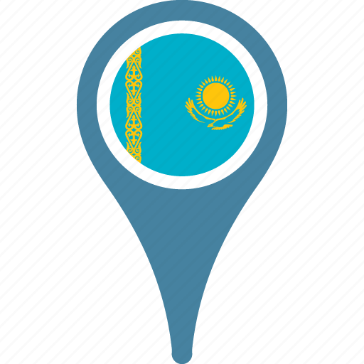 country, flag, kazakhstan, national, pin icon