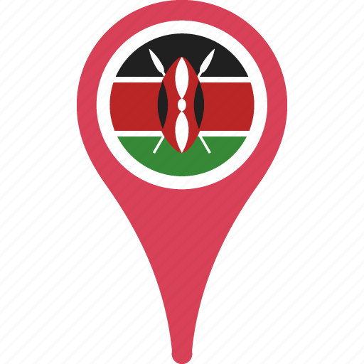country, flag, kenya, map, marker, pin icon