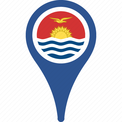 flag, flags, kiribati, kiribati flag pin, map, pin icon