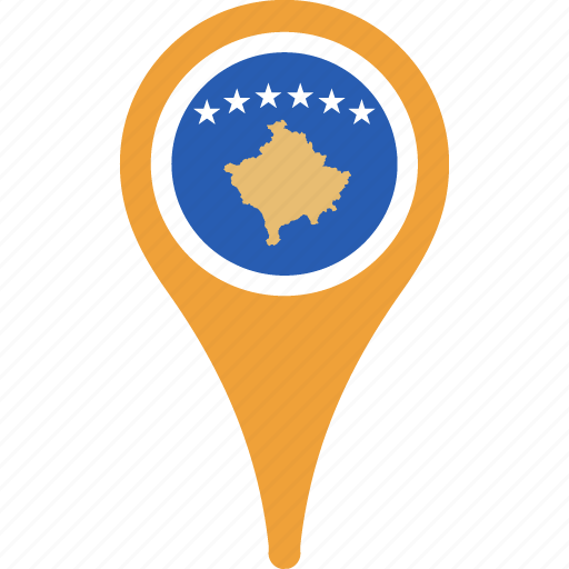 country, flag, flags, kosovo, map, pin icon