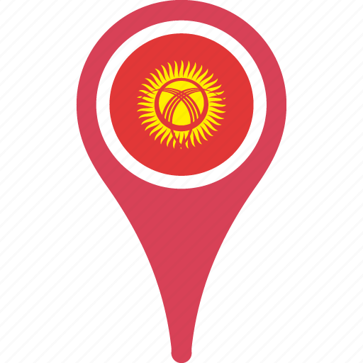 country, flag, flags, kyrgyzstan, pin icon