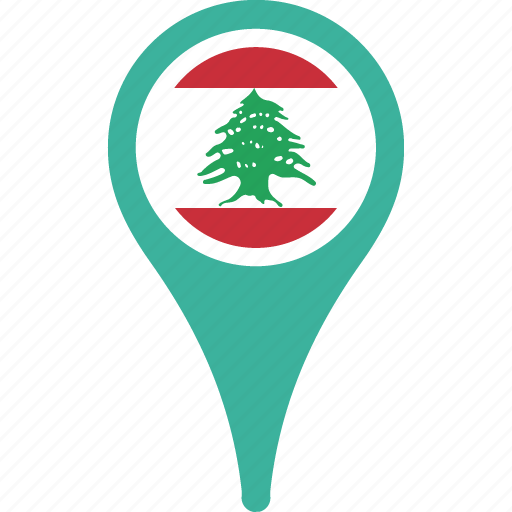 flag, lebanon, lebanon flag pin, map, pin icon