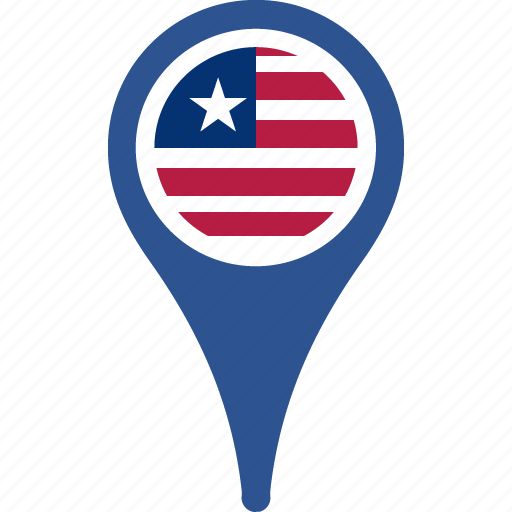 country, flag, liberia, location, map, pin icon