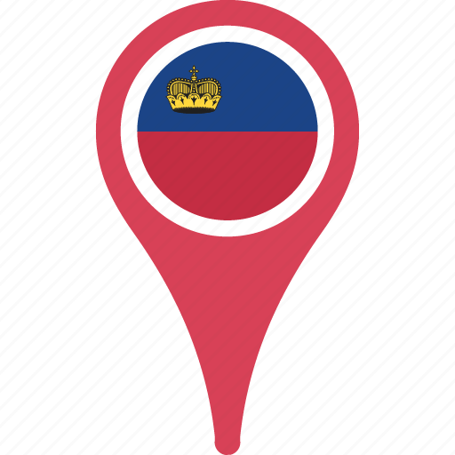 country, flag, liechtenstein, location, map, pin icon