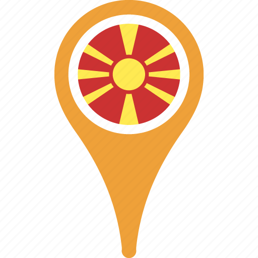 country, flag, location, macedonia, pin icon