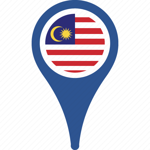 country, flag, malaysia, map, pin icon