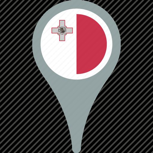 circle, country, flag, malta, map, pin icon