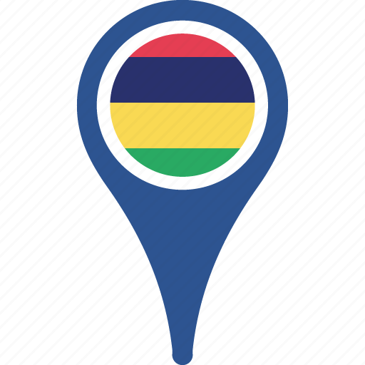 country, flag, map, mauritius, pin icon