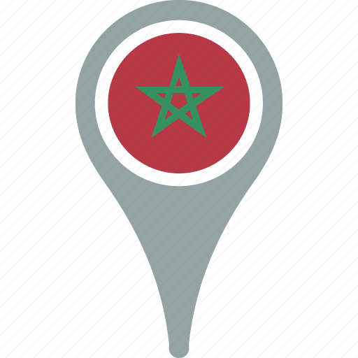 country, flag, map, morocco, pin icon