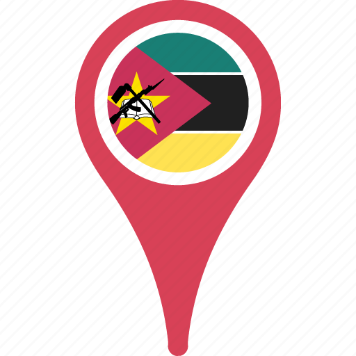 country, flag, map, mozambique, pin icon