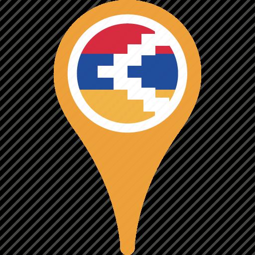 country, flag, karabakh, map, nagorno, pin icon