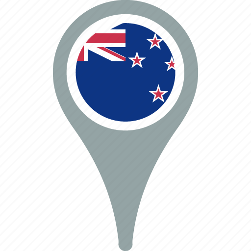 country, flag, map, new, pin, zealand icon