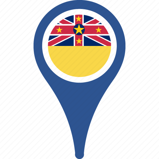 country, flag, map, niue, pin icon